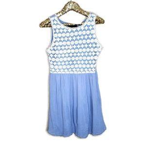 Blue Rain Crochet Overlay Sleeveless Dress M